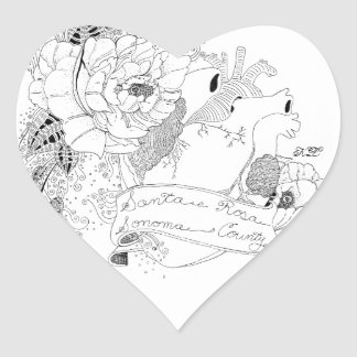 Sonoma Love (B&W) Heart Sticker