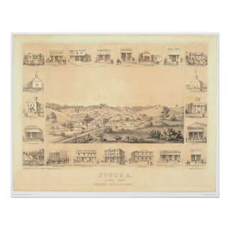 Sonora, CA. Panoramic Map 1854 (1647A) - Restored Poster