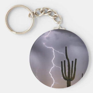 Sonoran Desert Monsoon Storming Basic Round Button Keychain