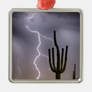 Sonoran Desert Monsoon Storming Silver-Colored Square Ornament