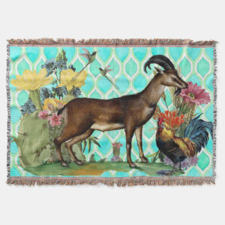 Sonoran Goat and Rooster Throw Blanket