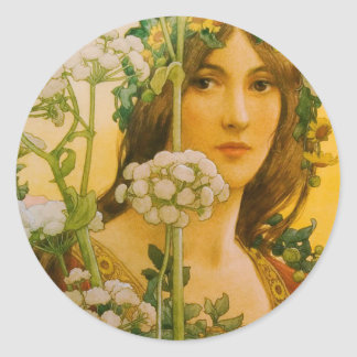 """Sonrel's """"Lady of the Cow"""" Classic painting Classic Round Sticker"""