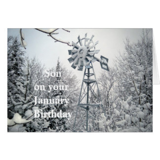 Son's January Birthday-windmill winter scene Card