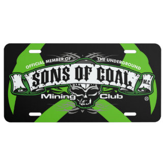SONS OF COAL MINING CLUB LICENSE PLATE