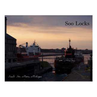 Soo Locks & Herbert C. Jackson post card