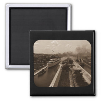 Soo Locks Magic Lantern Slide Sepia Magnet