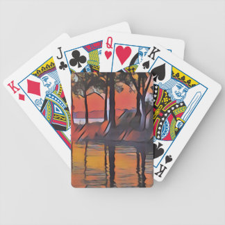 Soothing Artistic Trees Reflections on Water Bicycle Playing Cards