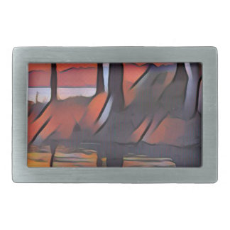 Soothing Artistic Trees Reflections on Water Rectangular Belt Buckle