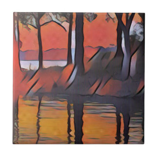 Soothing Artistic Trees Reflections on Water Tile