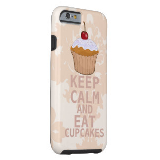 Soothing Peachy Damask KEEP CALM AND Eat Cupcakes Tough iPhone 6 Case