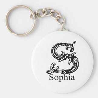 Sophia Basic Round Button Keychain