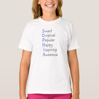 Sophia - Personalized Blue Acrostic with Virtues T-Shirt