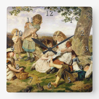 "Sophie Anderson's ""The Children's Story Book"" Square Wall Clock"