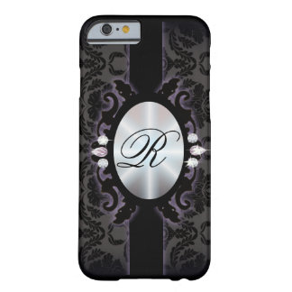 Sophisticate black Damask vintage monogram iPhone  Barely There iPhone 6 Case