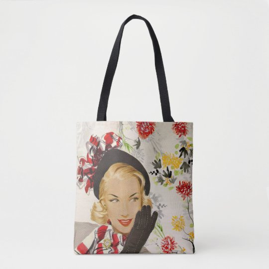 Sophisticated  1940's/1950's Glamour Illustration Tote Bag