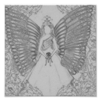 Sophisticated Angelic Sweet 16 Grey Poster