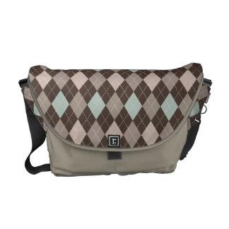 Sophisticated Argyle in Subtle Pastel Brown Commuter Bags
