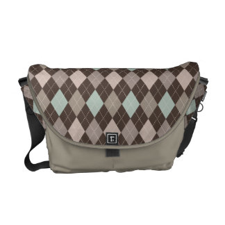 Sophisticated Argyle in Subtle Pastel Brown Courier Bag