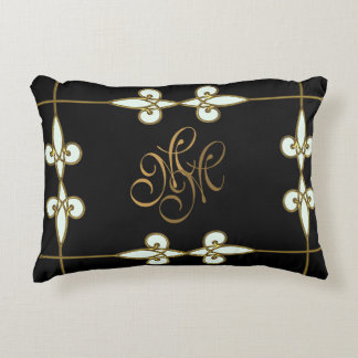 Sophisticated art nouveau vintage gold monogram decorative pillow