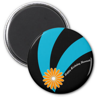 Sophisticated Birthday Flower on Teal & Black 2 Inch Round Magnet