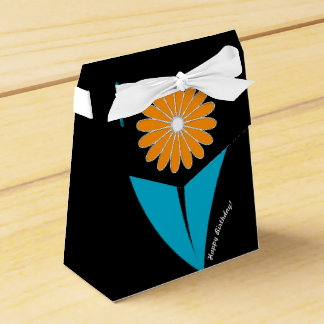 Sophisticated Birthday Flower on Teal & Black Favor Boxes