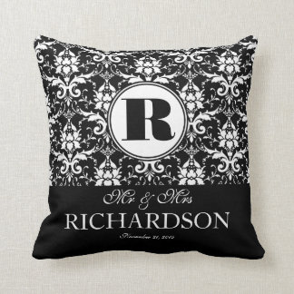 Sophisticated Black and White Damask Monogram Throw Pillow