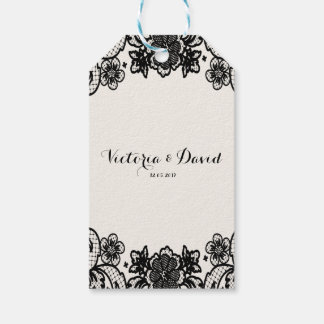 Sophisticated Black Lace Wedding Day Gift Tags