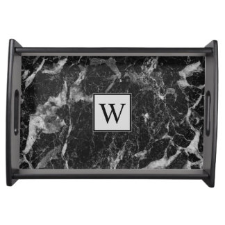 Sophisticated Black Marble with Monogram Food Trays