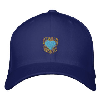 Sophisticated blue and gold heart cap embroidered baseball cap