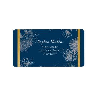 Sophisticated blue wedding return address label