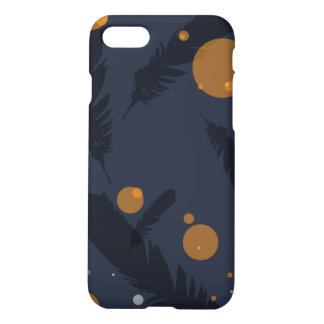 Sophisticated Dark Feather and Circle iPhone 8/7 Case
