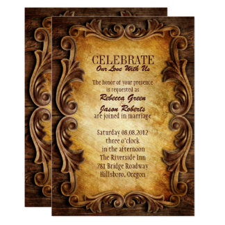 Sophisticated Elegant  western vintage wedding Card