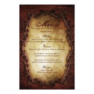 Sophisticated Elegant western vintage wedding menu Customized Stationery