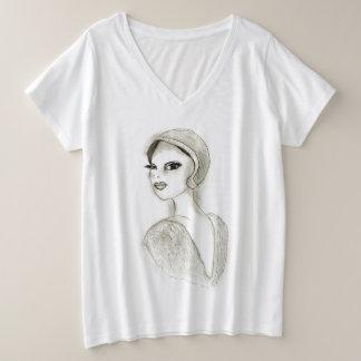 Sophisticated Flapper Plus Size V-Neck T-Shirt