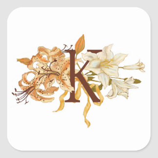 "Sophisticated Floral Letter ""K"" Monogram Square Sticker"