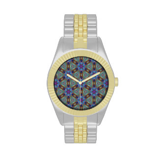 Sophisticated Floral Pattern in Greens and Blues Wristwatch