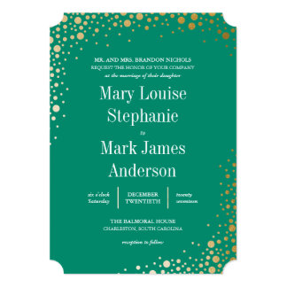 Sophisticated Gold Dot Balmoral Wedding Invitation