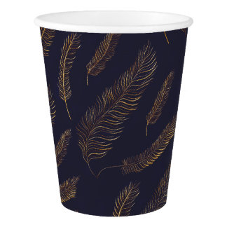 Sophisticated Gold Feather Motif Paper Cup