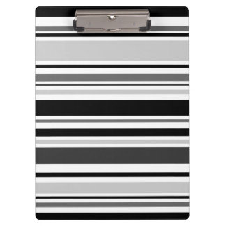 Sophisticated Gray, Black, White Stripes Clipboard