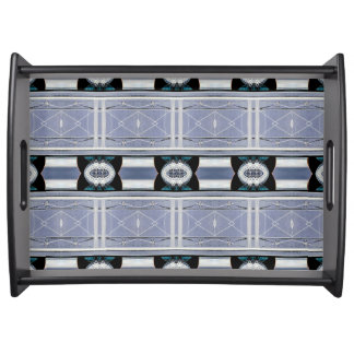 Sophisticated Gray Blue Monochromatic Geometric Serving Tray