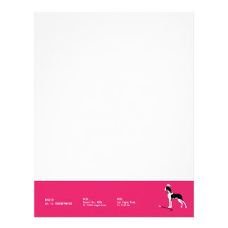 Sophisticated Great Dane on Pink Letterhead