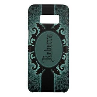 Sophisticated green Damask vintage monogram Case-Mate Samsung Galaxy S8 Case