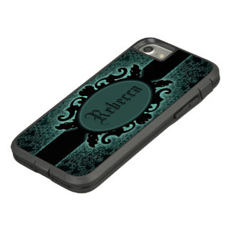 Sophisticated green Damask vintage monogram Case-Mate Tough Extreme iPhone 8/7 Case