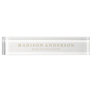 Sophisticated in White & Gold | Desk Name Plate