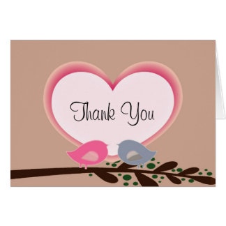 Sophisticated Love Birds Thank You Notes
