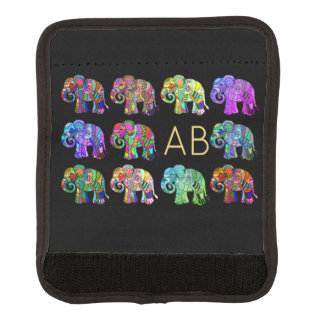 Sophisticated monogram ornamental elephants parade luggage handle wrap