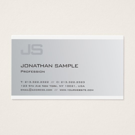 Sophisticated Monogram Silver Look Professional Business Card
