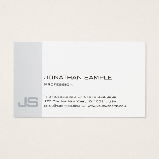 Sophisticated Monogrammed Silver Professional Business Card
