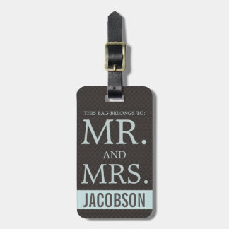 Sophisticated Mr and Mrs Brown and Blue Luggage Tag