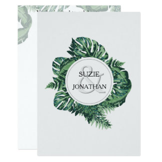 Sophisticated natural ferns wedding invite